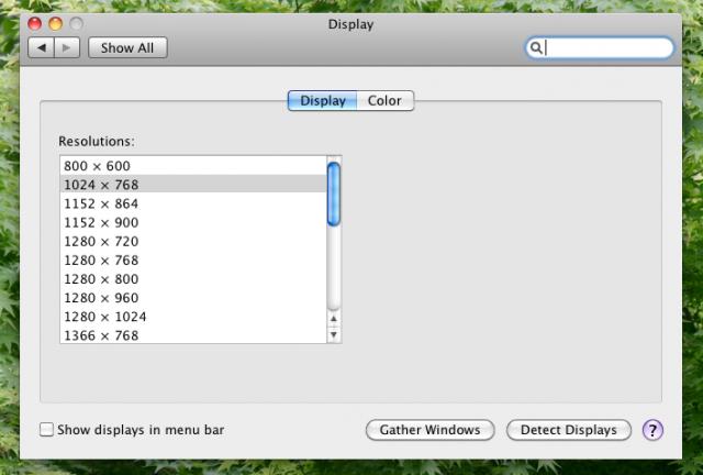 Mac OS X 屏幕分辨率