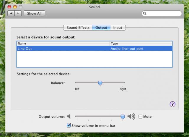Mac OS X 声音输出设备